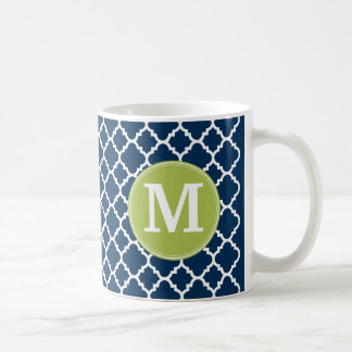 Lime & Navy Geometric Pattern Custom Monogram Coffee Mug