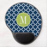 Lime & Navy Geometric Pattern Custom Monogram Gel Mouse Pad