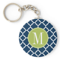 Lime & Navy Geometric Pattern Custom Monogram Keychain