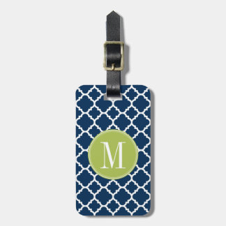 Lime & Navy Geometric Pattern Custom Monogram Luggage Tag