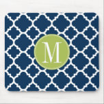 """Lime &amp; Navy Geometric Pattern Custom Monogram Mouse Pad<br><div class=""""desc"""">A bold,  graphic quatrefoil design in fresh,  cheerful colors. If you need to adjust the monograms,  click on the customize it button and make changes.</div>"""