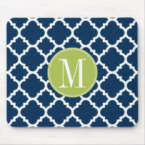 Lime & Navy Geometric Pattern Custom Monogram Mouse Pad
