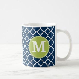 Lime & Navy Geometric Pattern Custom Monogram Classic White Coffee Mug