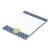 Lime & Navy Geometric Pattern Custom Monogram Notepad