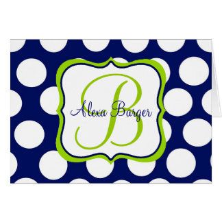 Lime & Navy Notecards Card