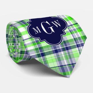 Lime, Navy, Wht Preppy Madras Quatrefoil Monogram Neck Tie