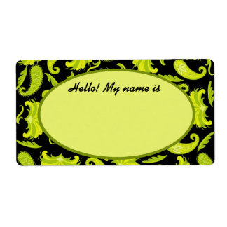 Lime & Olive Green & Black Paisley Name Tag Label