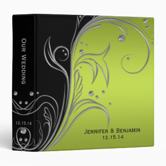 Lime Ombre Black Silver Floral Scrolls Photo Album 3 Ring Binder