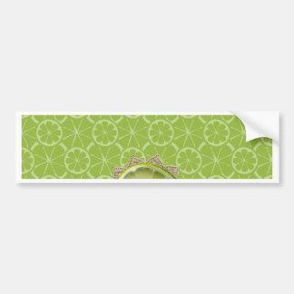 Lime on Dollie, Burlap Trim, Lime Patterns Bumper Sticker