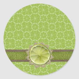 Lime on Dollie, Burlap Trim, Lime Patterns Classic Round Sticker