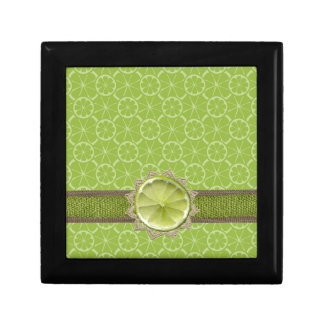 Lime on Dollie, Burlap Trim, Lime Patterns Gift Box