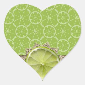Lime on Dollie, Burlap Trim, Lime Patterns Heart Sticker