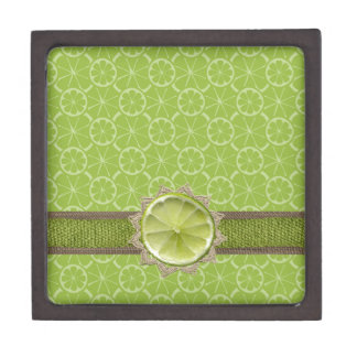 Lime on Dollie, Burlap Trim, Lime Patterns Keepsake Box