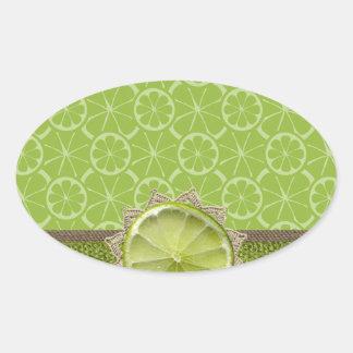 Lime on Dollie, Burlap Trim, Lime Patterns Oval Sticker