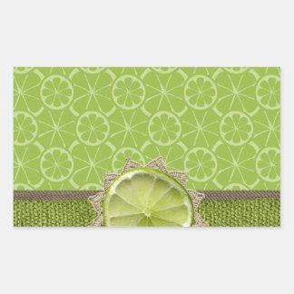 Lime on Dollie, Burlap Trim, Lime Patterns Rectangular Sticker