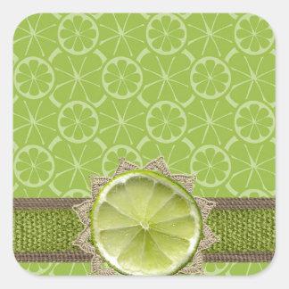 Lime on Dollie, Burlap Trim, Lime Patterns Square Sticker