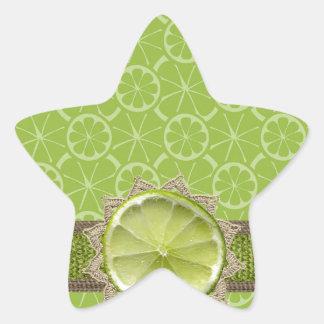 Lime on Dollie, Burlap Trim, Lime Patterns Star Sticker