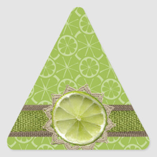Lime on Dollie, Burlap Trim, Lime Patterns Triangle Sticker