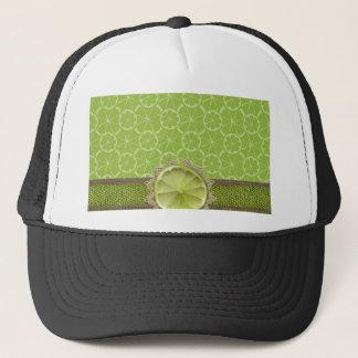 Lime on Dollie, Burlap Trim, Lime Patterns Trucker Hat