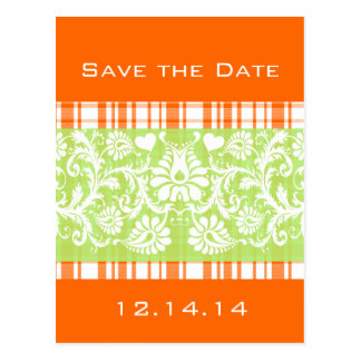 Lime On Orange Plaid Topped Off with White Damask Postcard
