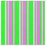 [ Thumbnail: Lime, Orchid, and Mint Cream Stripes Fabric ]
