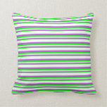 [ Thumbnail: Lime, Orchid, and White Pattern of Stripes Pillow ]