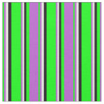 [ Thumbnail: Lime, Orchid, White & Black Colored Pattern Fabric ]