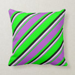 [ Thumbnail: Lime, Orchid, White & Black Colored Pattern Pillow ]