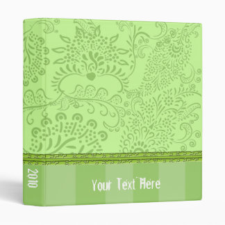 Lime Paisley Damask Binder With Stripes