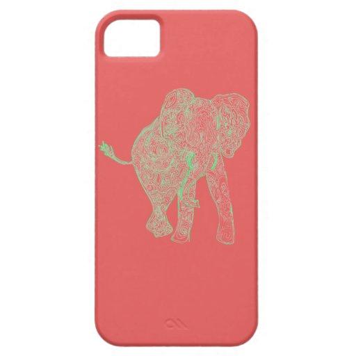 Lime/Peach Elephant iPhone 5 Case