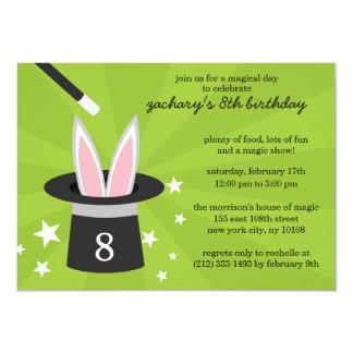 "Lime Peek-a-Boo Rabbit Custom Magic Birthday Party 5"" X 7"" Invitation Card"