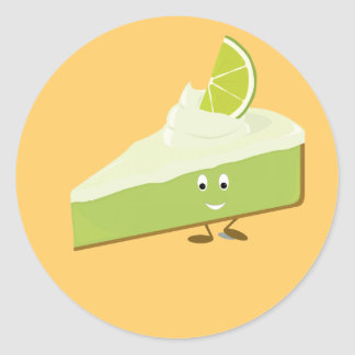 Lime pie slice character classic round sticker