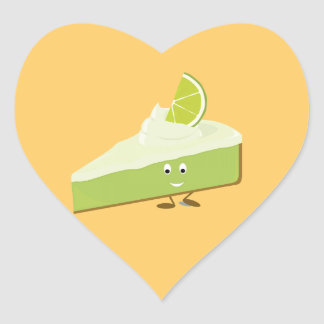 Lime pie slice character heart sticker