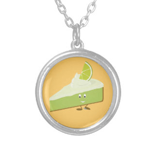 Lime pie slice character round pendant necklace