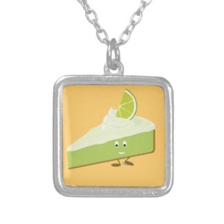Lime pie slice character square pendant necklace