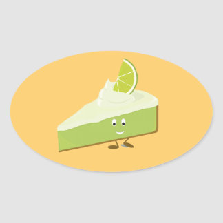 Lime pie slice character oval sticker