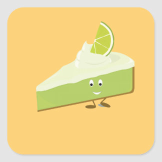 Lime pie slice character square sticker
