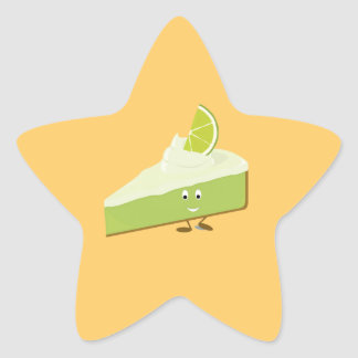 Lime pie slice character star sticker