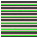 [ Thumbnail: Lime, Pink, and Black Colored Pattern of Stripes Fabric ]