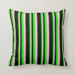 [ Thumbnail: Lime, Pink, and Black Colored Pattern of Stripes Throw Pillow ]