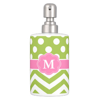 lime pink chevron monogram soap dispenser and toothbrush holder