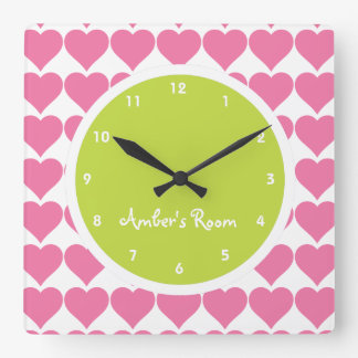 Lime & Pink Heart Print Girl's Bedroom Square Wall Clock