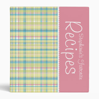 Lime & Pink Picnic Plaid Personalized Recipe Binder