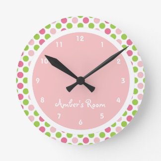 Lime & Pink Polka Dot Kid's Bedroom Round Clock