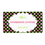 Lime&Pink Polka Dot Personalized Homemade Cookies Custom Shipping Labels