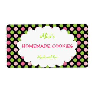 Lime&Pink Polka Dot Personalized Homemade Cookies Label