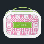 """Lime &amp; Pink Trellis   Personalized Lunch Box<br><div class=""""desc"""">Lunch time is even sweeter with a customized Lunch Box made specially for them! Easily customize the Text, Font, Font Color and Background color! To customize your lunch box, simply click on the &quot;Customize it&quot; button and select your background color from the swatches or select the font icon to change...</div>"""