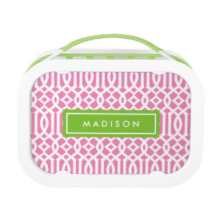 Lime & Pink Trellis | Personalized Lunch Box at Zazzle