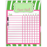 Lime & Pink Zebra Chore Chart Dry Erase Whiteboards