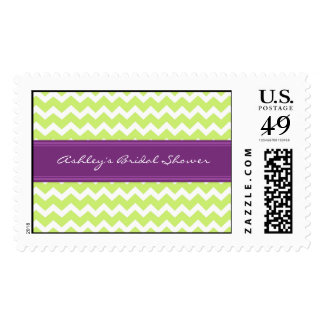 Lime Plum Chevron Bridal Shower Wedding Stamps